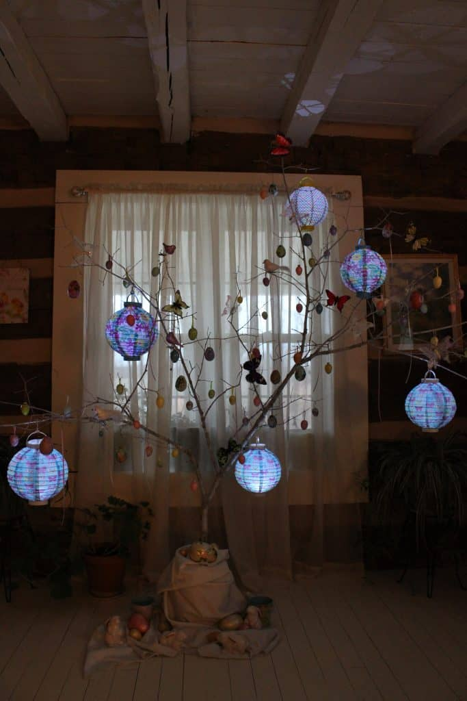 Easter tree lit with lanterns from the Dollar Tree