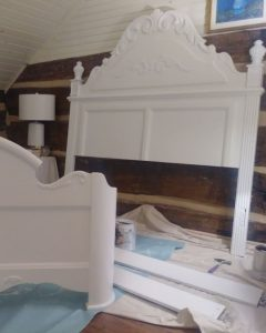 bed frame painted white