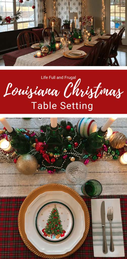Louisiana Christmas Table Setting Life full and frugal #christmastable #christmastablesetting #christmasfeast #christmastableinspo #christmastableideas #tablesetting #traditionalchristmas #festivechristmas #christmasdecor #christmasdecorations #christmasinspo