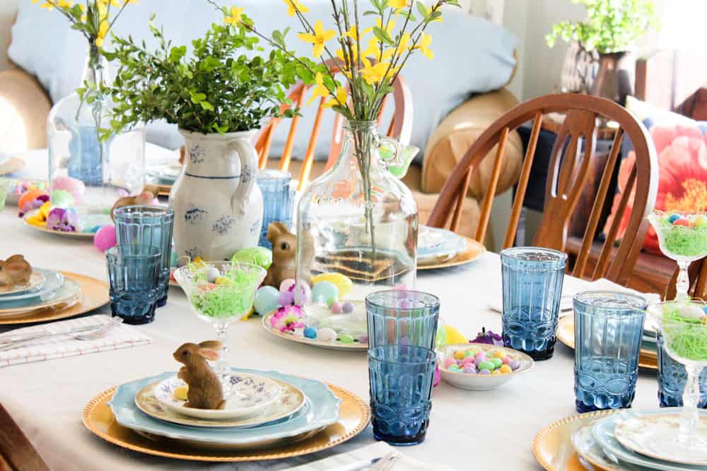Easter Table Setting Life Full and Frugal bright spring decor