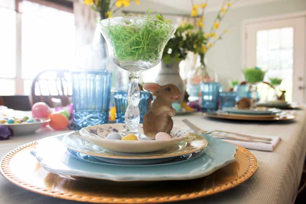 Easter Table Setting Life Full and Frugal place setting with bunny