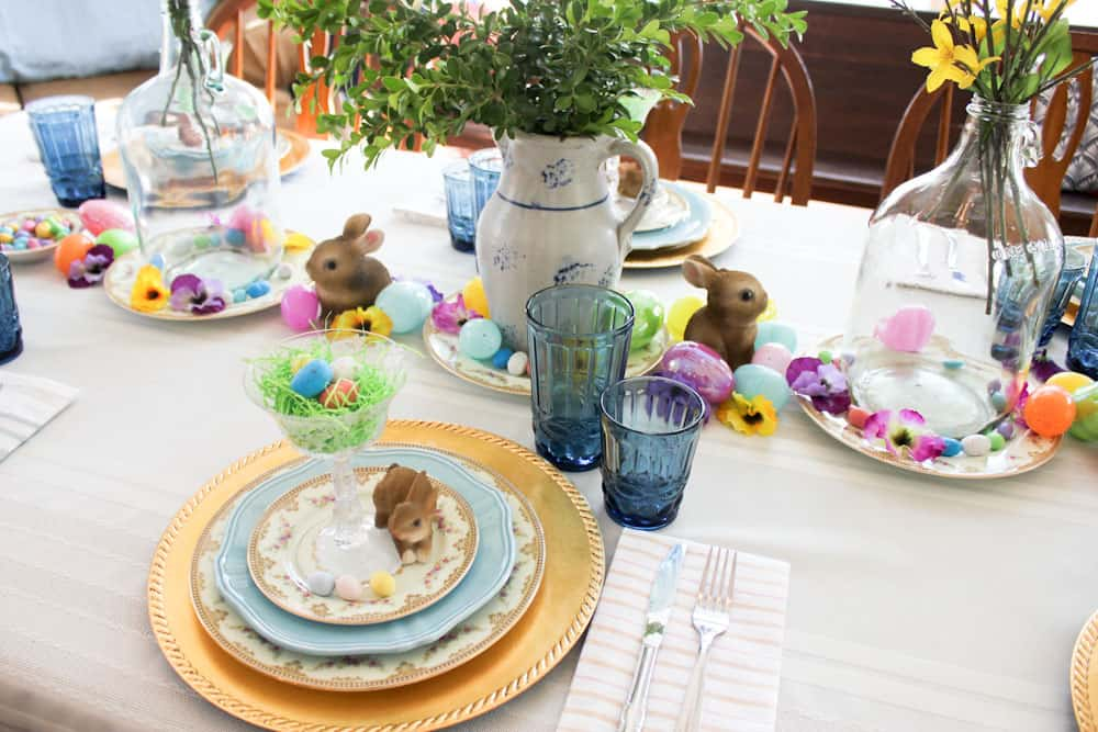Easter Table Setting Life Full and Frugal place setting with center piece