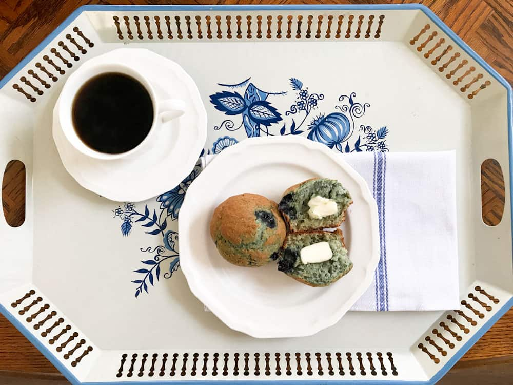 Life Full and Frugal / blueberry muffins with butter on a blue and white tray with coffee and a pretty napkin
