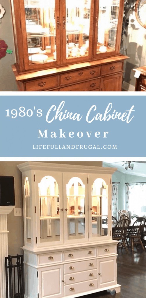 before and after images of a 1980s china cabinet makeover for living room refresh #lifefullandfrugal #chinacabinet #chinacabinetmakeover #1980schinacabinetmakeover #diy #diyprojects #paintedfurniture #fleamarketfurniture #refinishedfurniture #curiocabinet #paintedcabinet #paintedchinacabinet #diystorage #farmhousechinacabinet #cottagedesign #cottagedecor #farmhousedecor #whitedecor #whitefurniture