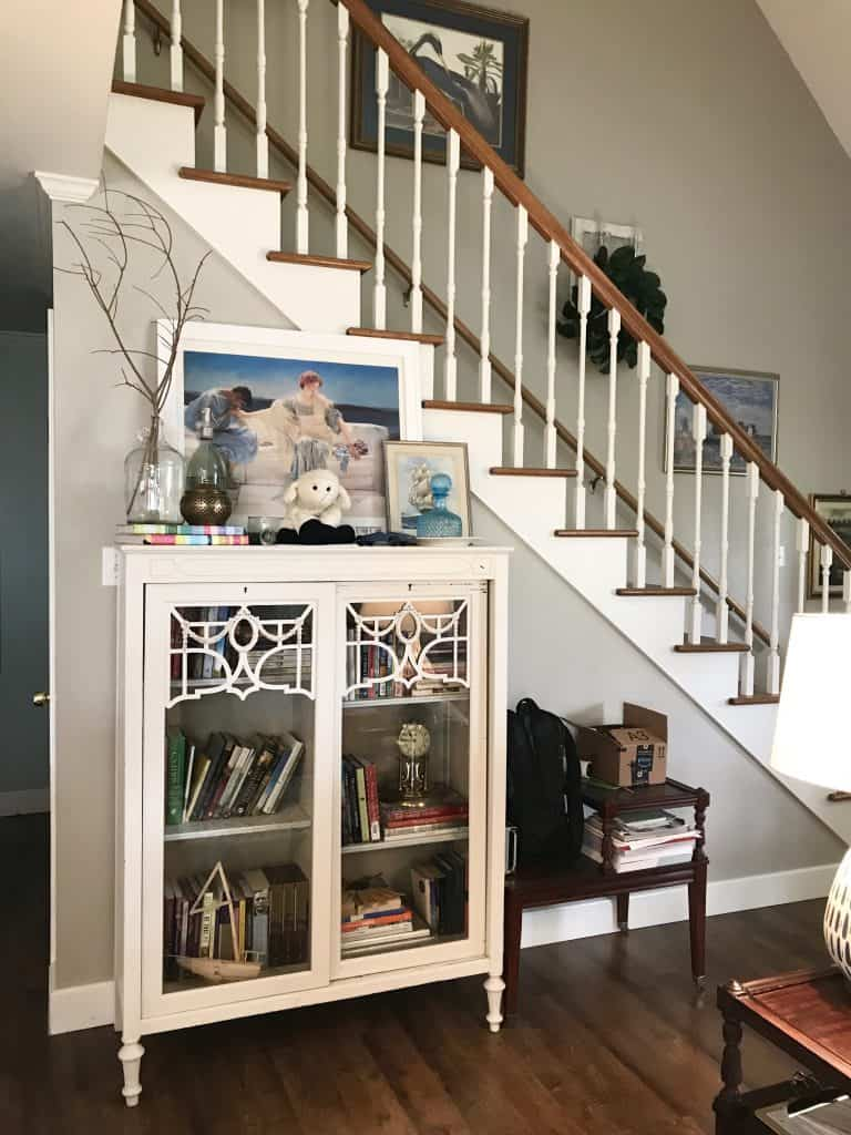 1980s china cabinet makeover living room staircase