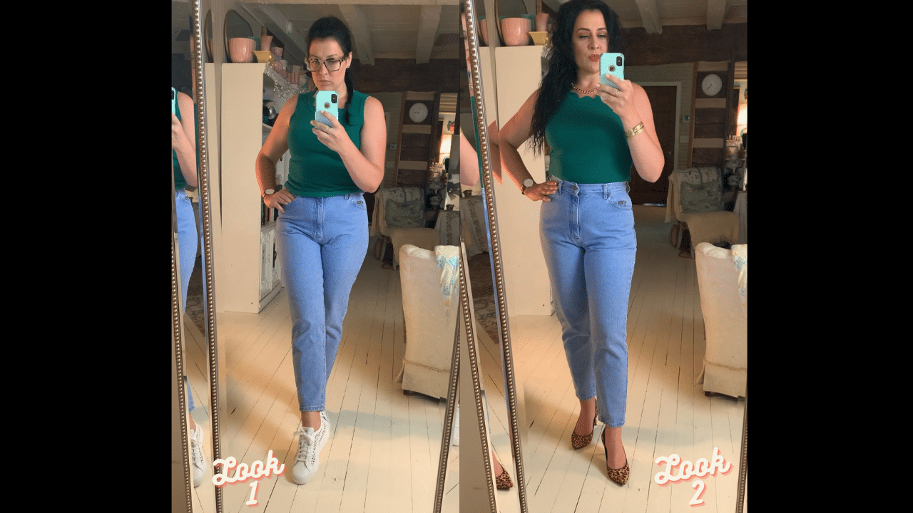 two different looks with a green top and mom jeans life full and frugal