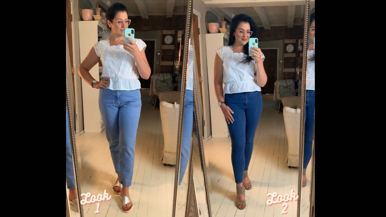 mixing and matching a white shirt with different jeans and glasses life full and frugal