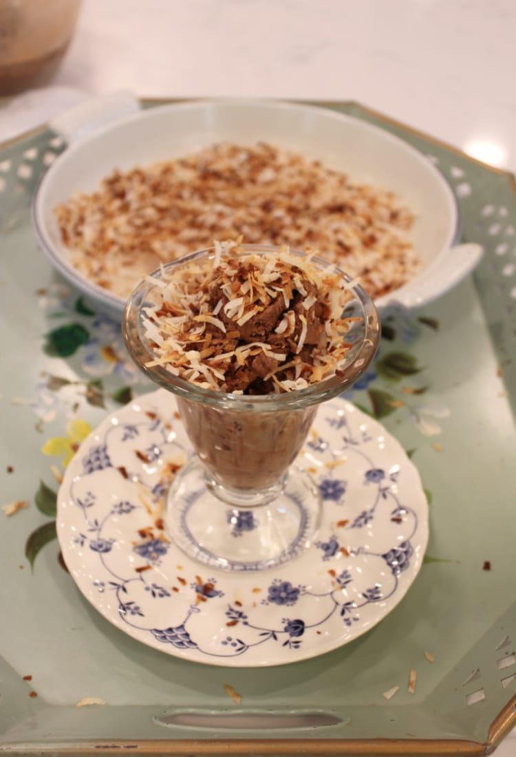 a bowl of toasted coconut and chocolate ice cream life full and frugal