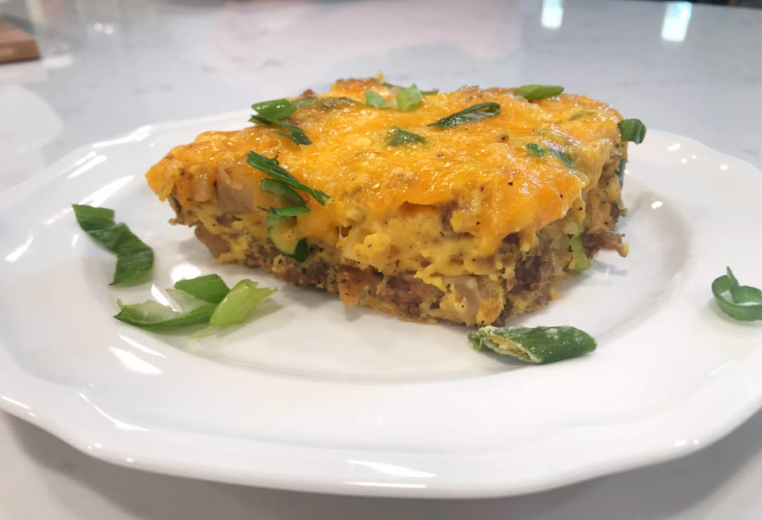 farmer's breakfast casserole a white plate life full and frugal