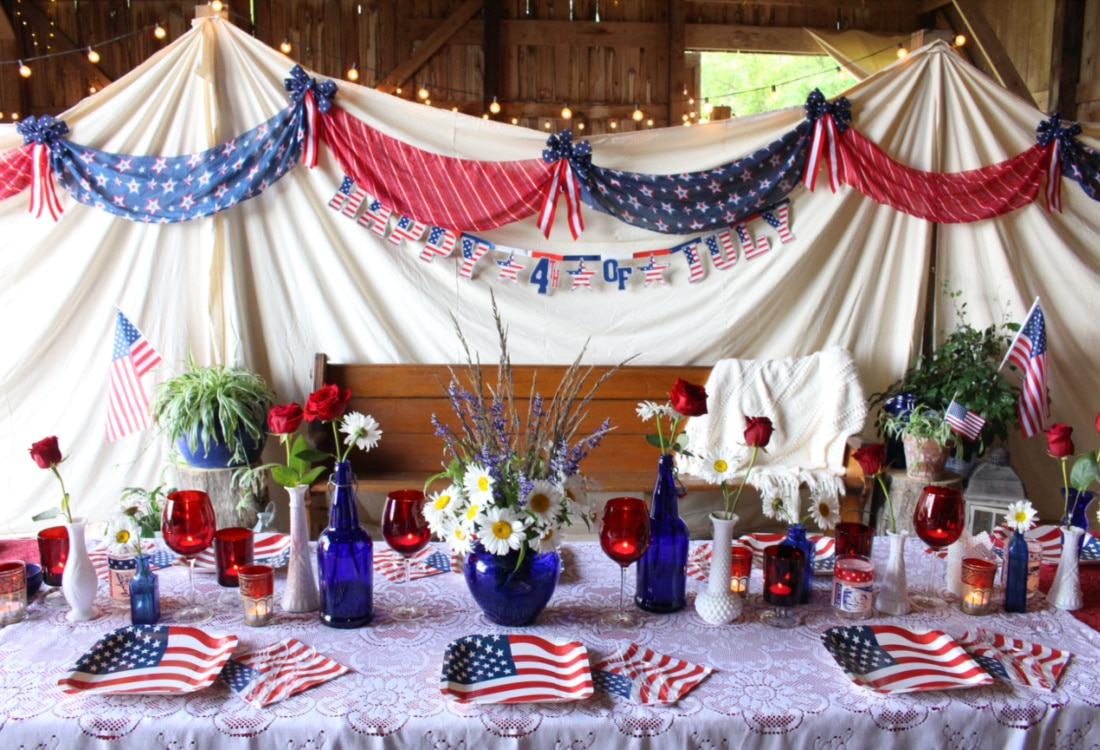 a beautiful July 4th bunting and table setting life full and frugal