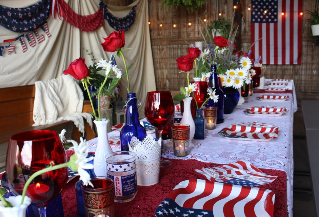 a beautiful table setting for a 4th of July party life full and frugal