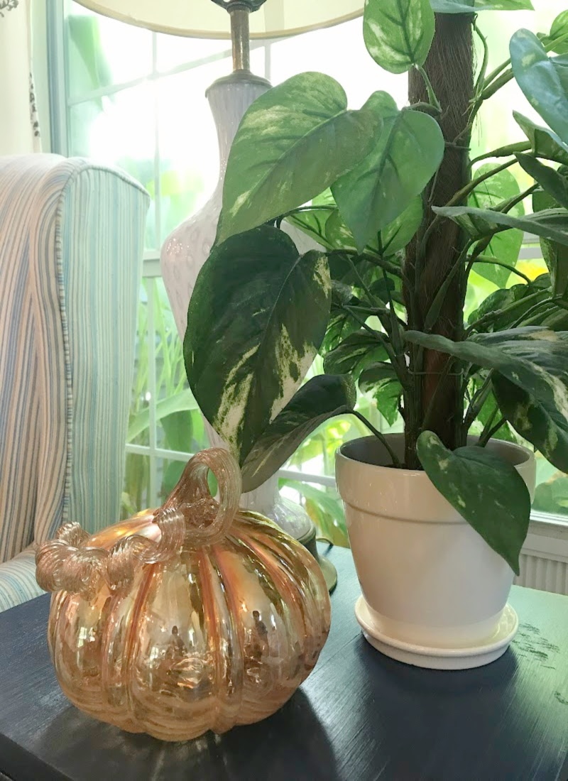 Creating Frugal Eclectic Fall Decor - Life Full and Frugal - blown glass pumpkin