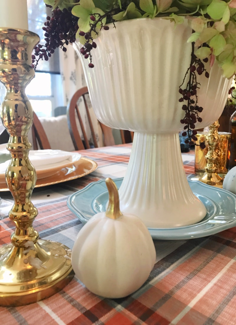 Creating Frugal Eclectic Fall Decor - Life Full and Frugal - white Ceramic pumkin wiht gold stem and gold candle holder, pottery centerpiece