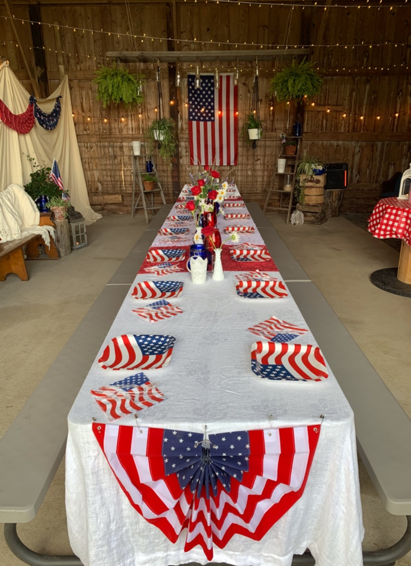a patriotic table setting for a July 4th party life full and frugal