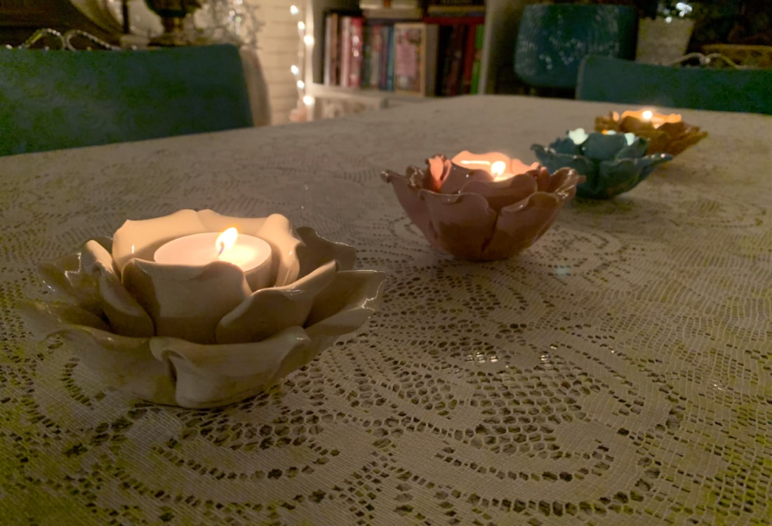 flower candles holders with tea candles hygge home