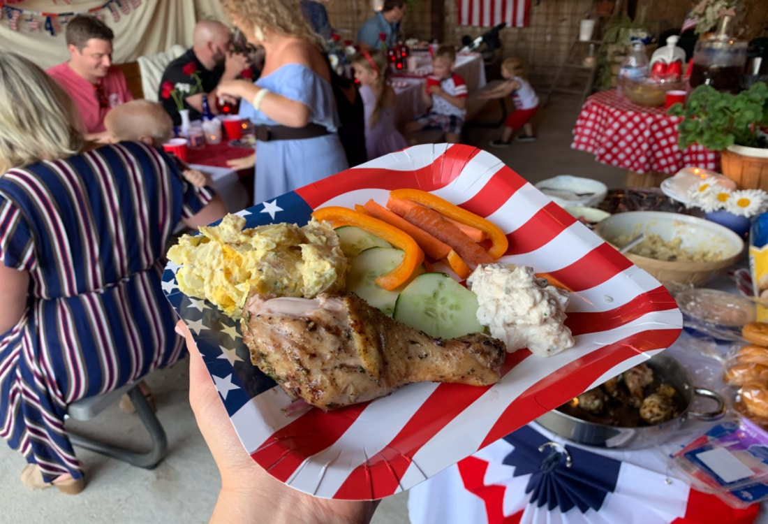 a plate of food at a July 4th party