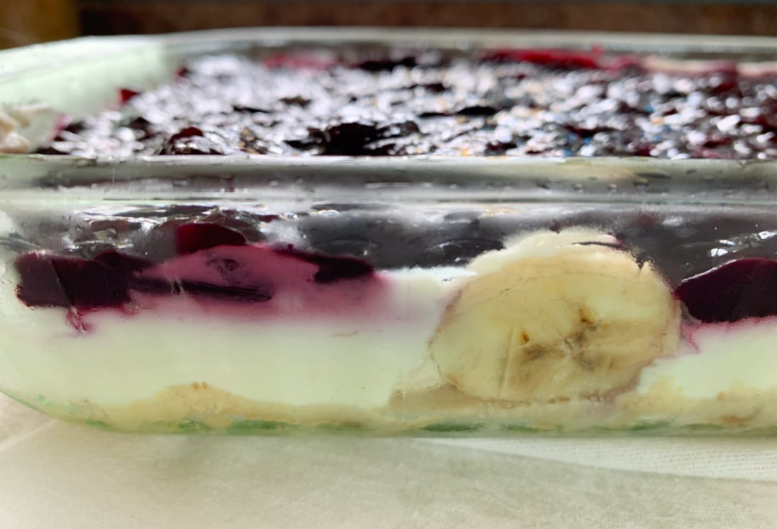 a layered blueberry and banana dessert life full and frugal