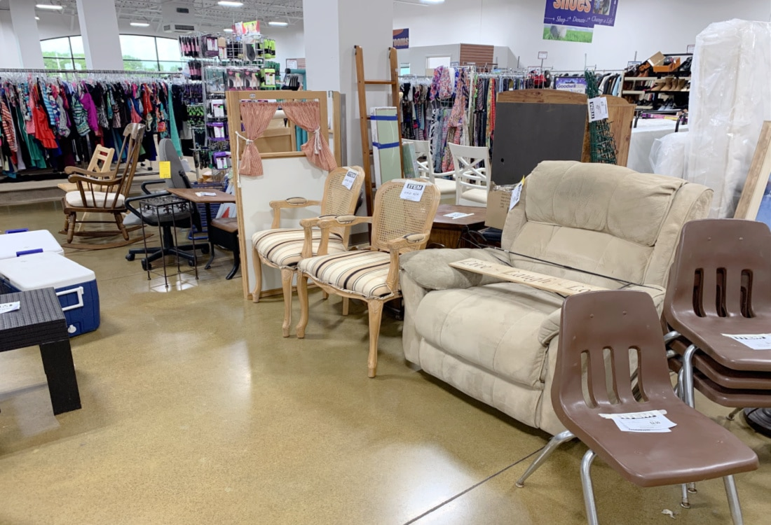 the furniture section at goodwill life full and frugal