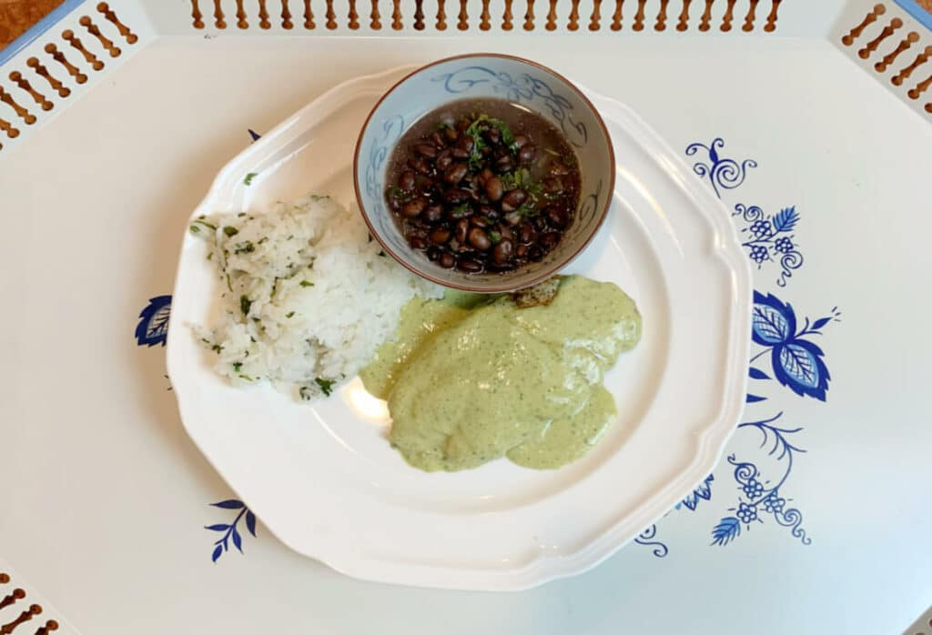 Chicken with creamy poblano sauce cilantro rice and black beans Life Full and Frugal