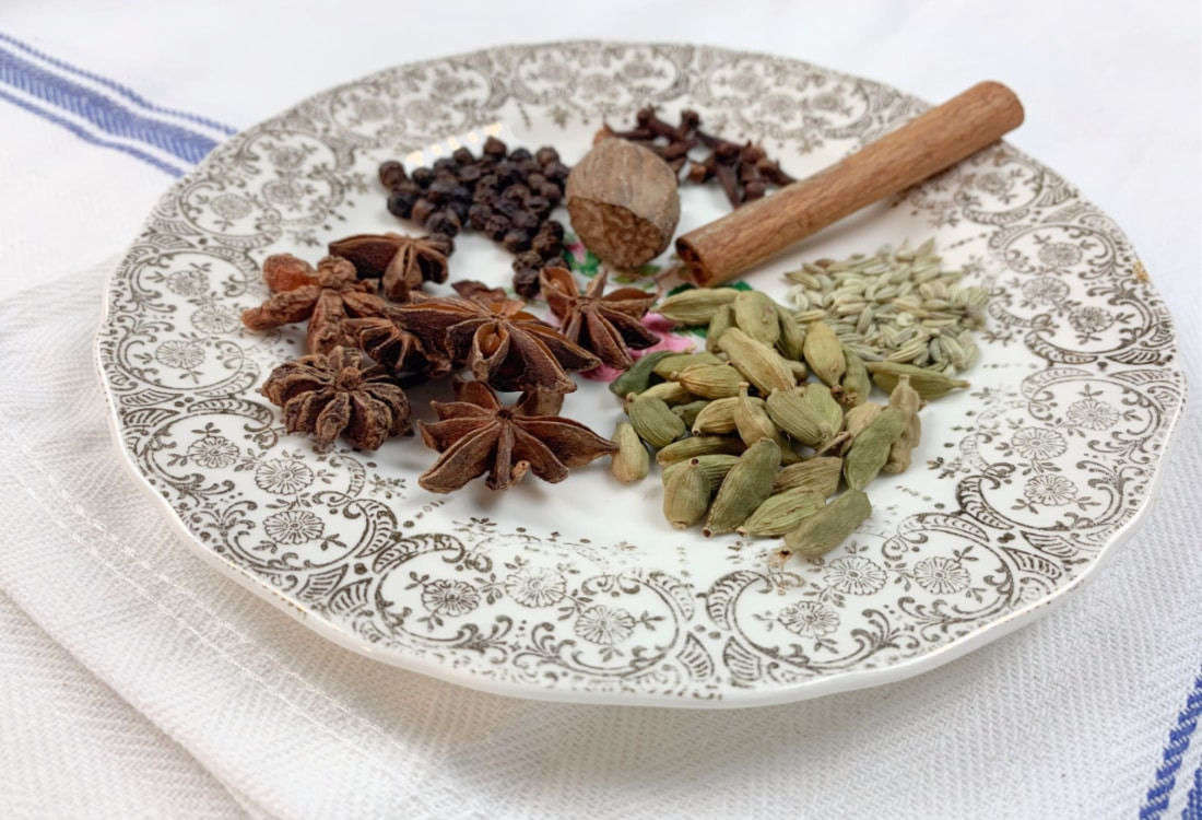 a plate of indian spices for chai lattes life full and frugal